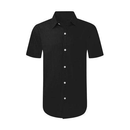 NEW Men Solid Button Up S-8XL Shirt BIG & TALL 7 Colors Polyester Collar (Solid Color Polyester)