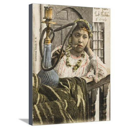 Algeria - Woman Smoking a Nargile (Hookah Pipe) Stretched Canvas Print Wall Art ()