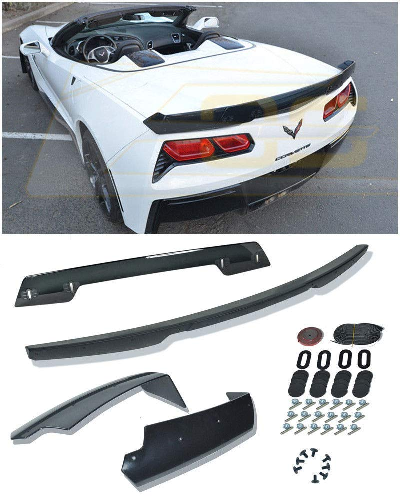 EPARTS 1 Piece Flat Black ABS Rear Trunk Spoiler Wing Trunk Lid Spoiler Fit For 2014-2018 Chevy Corvette C7