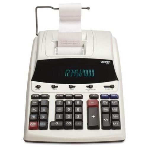 """Victor 12304 Executive Commercial Calculator - 12 Character[s] - Fluorescent - Ac Supply Powered - 2.8"""" X 8.5"""" X 12.3"""" - White (VCT12304)"""