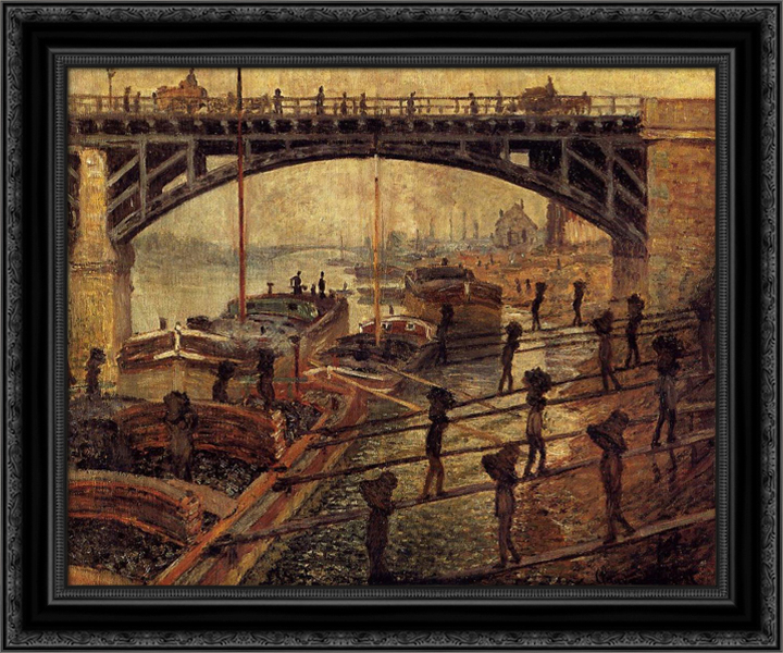 Coal Dockers 24x20 Black Ornate Wood Framed Canvas Art by Monet, Claude by FrameToWall
