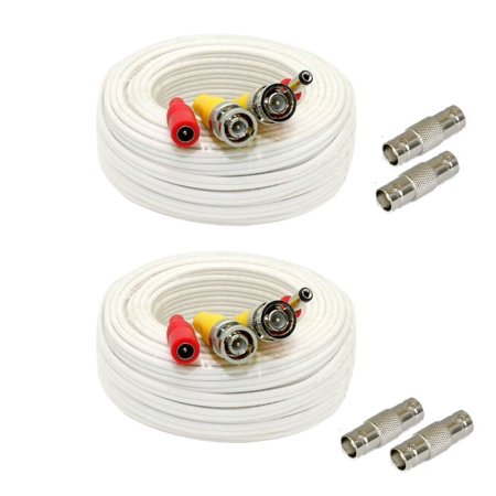- GW Security 2 Pack 25 Feet Video Power Pre-Made All-in-One BNC Cable CCTV Camera Wire Cord with Extension BNC Female Connectors for All HD DVR System