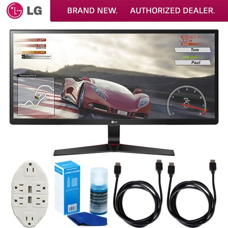 LG 34UM69GB 34-inch UltraWide IPS Gaming Monitor 2560 x 1080 21:9 Bundle with 6-Outlet Surge Adapter with Night Light, 2x 6ft HDMI Cable and Screen Cleaner for LED TVs