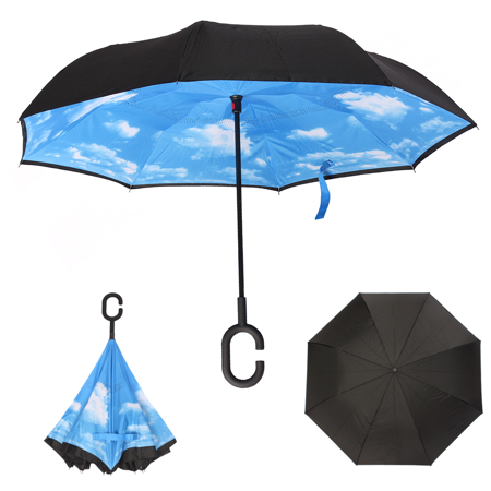 Double Layer C Shape Handle Hand-free Umbrella Folding Upside Down Inverted Self Standing Novelty Blue - Novelty Umbrella