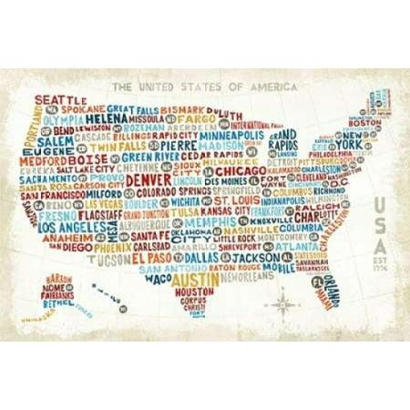 US City Map Poster Print By Michael Mullan Walmartcom - Us map poster walmart