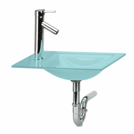 Bathroom mini counter sink green glass combo package for Bath sink and toilet packages