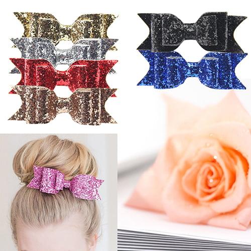 Moderna Girl's Shining Bowknot Spring Hair Clip Glitter Bow Barrette Hair Accessory