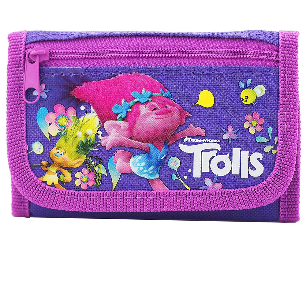 Trolls Dreamworks Purple Trifold Wallet