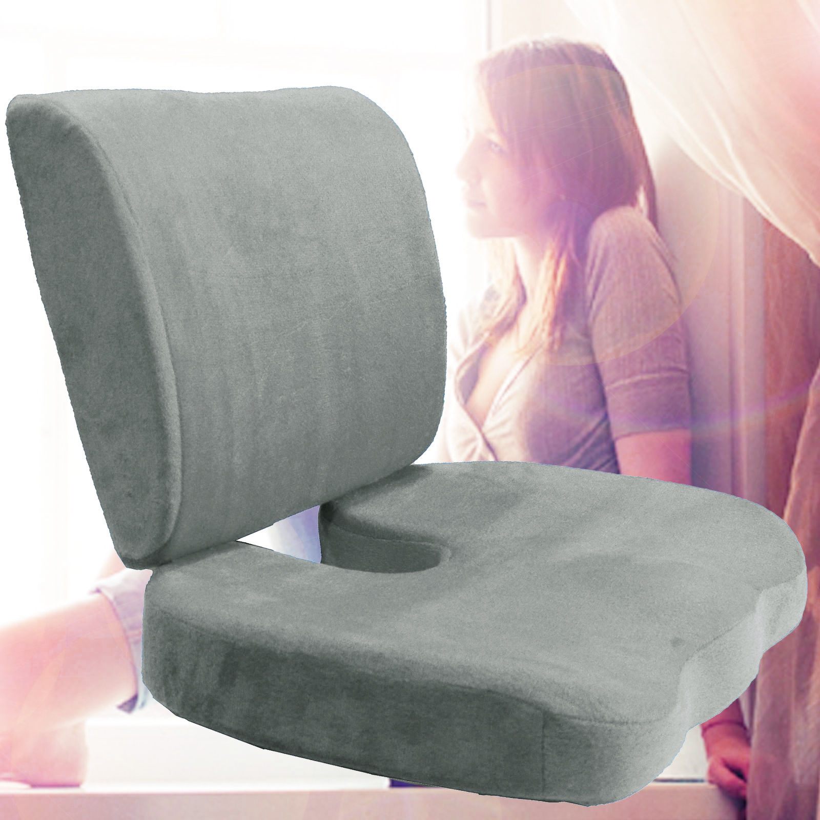 Memory Foam Back Lumbar & Coccyx Support Pillows Two Piece Set Sciatica & Pain Relief Seat Chair or Car Cushion Gray