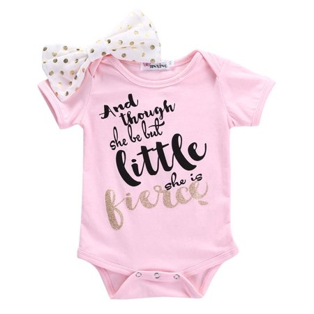 d9b53f20e4da Newborn Infant Baby Girls Clothes Letter Print Short Sleeve Romper  Jumpsuit+ Headband 2Pcs Outfits Baby Clothing - Walmart.com