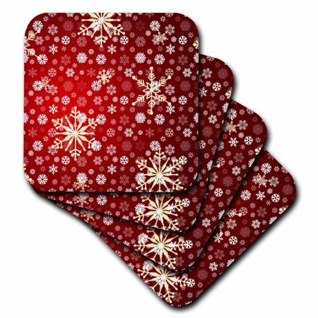 3dRose Red and White Christmas Snowflakes - Winter Art - Soft Coasters, set of 4