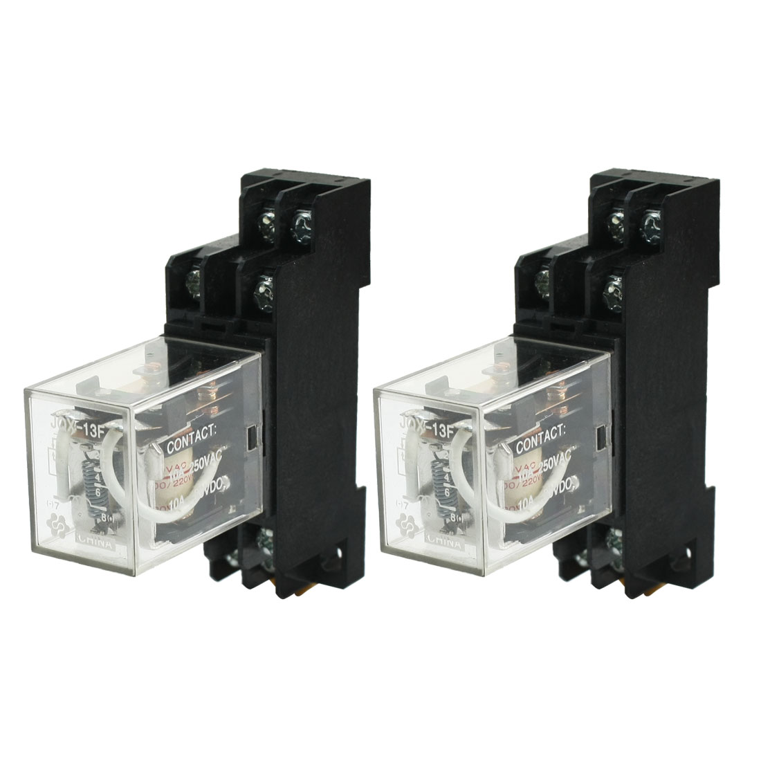 2 Pcs Dpdt 8pins 10a Electromagnetic Relay Ac220v Coil W 35mm Din In Pdf Rail Socket