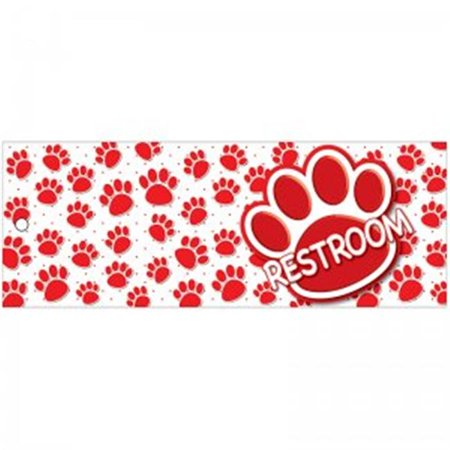 Restroom Pass Red Paws Large Double Sided Laminated Print, 3.5 x 9 in. - Red Paw Print