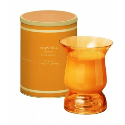 The Veda Company 1202T Soyveda Jewel Hurricane Candle 12. 5 oz. , Topaz