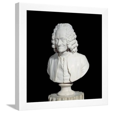 Bust of Francois Marie Arouet De Voltaire by Jean-Antoine Houdon Framed Print Wall (Slave Market With Disappearing Bust Of Voltaire)