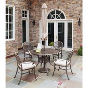 Home Styles Floral Blossom Taupe Dining Set with Umbrella, 5pc