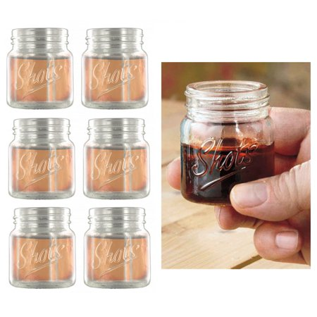 6 Pack Shot Glasses Set Clear Mini Mason Jars Wine Glass Party Cups Catering - Shot Glass Cups