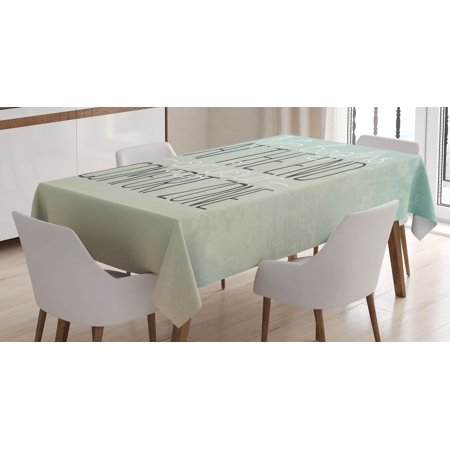Lifestyle Decor Tablecloth, Motivational Life Begins at the End of Your Comfort Zone Quote Concept Print, Rectangular Table Cover for Dining Room Kitchen, 52 X 70 Inches, Mint, by Ambesonne ()
