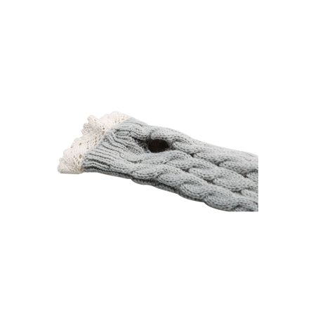 Unisex Winter Lace Warmers Ribbing Knitted Thumb Hole Gloves Light Gray 1 Pair - image 2 of 7