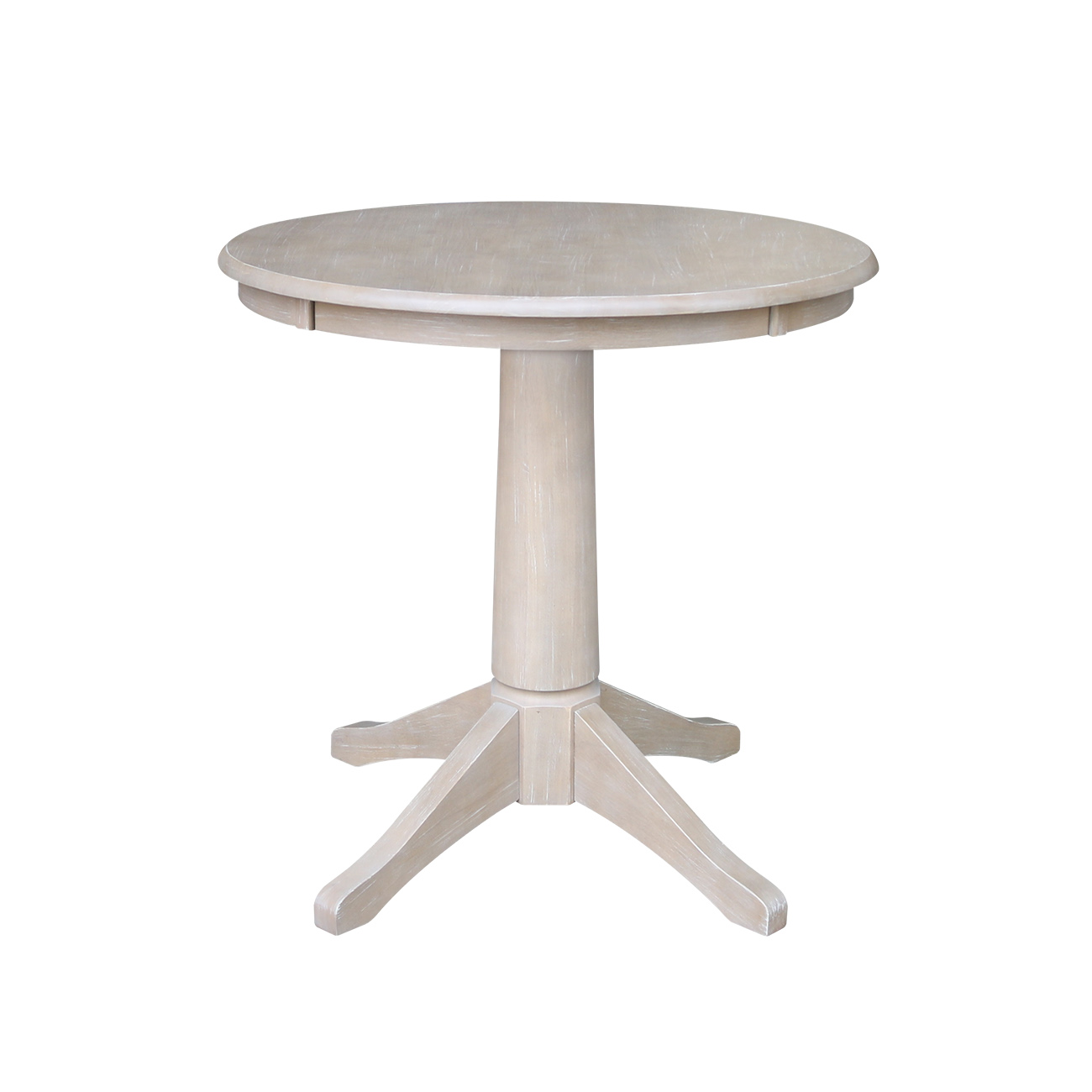30 X Solid Wood Round Pedestal Dining Table In Washed Gray Taupe