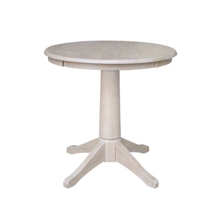 "30"" x 30"" Solid Wood Round Pedestal Dining Table in Washed Gray Taupe"