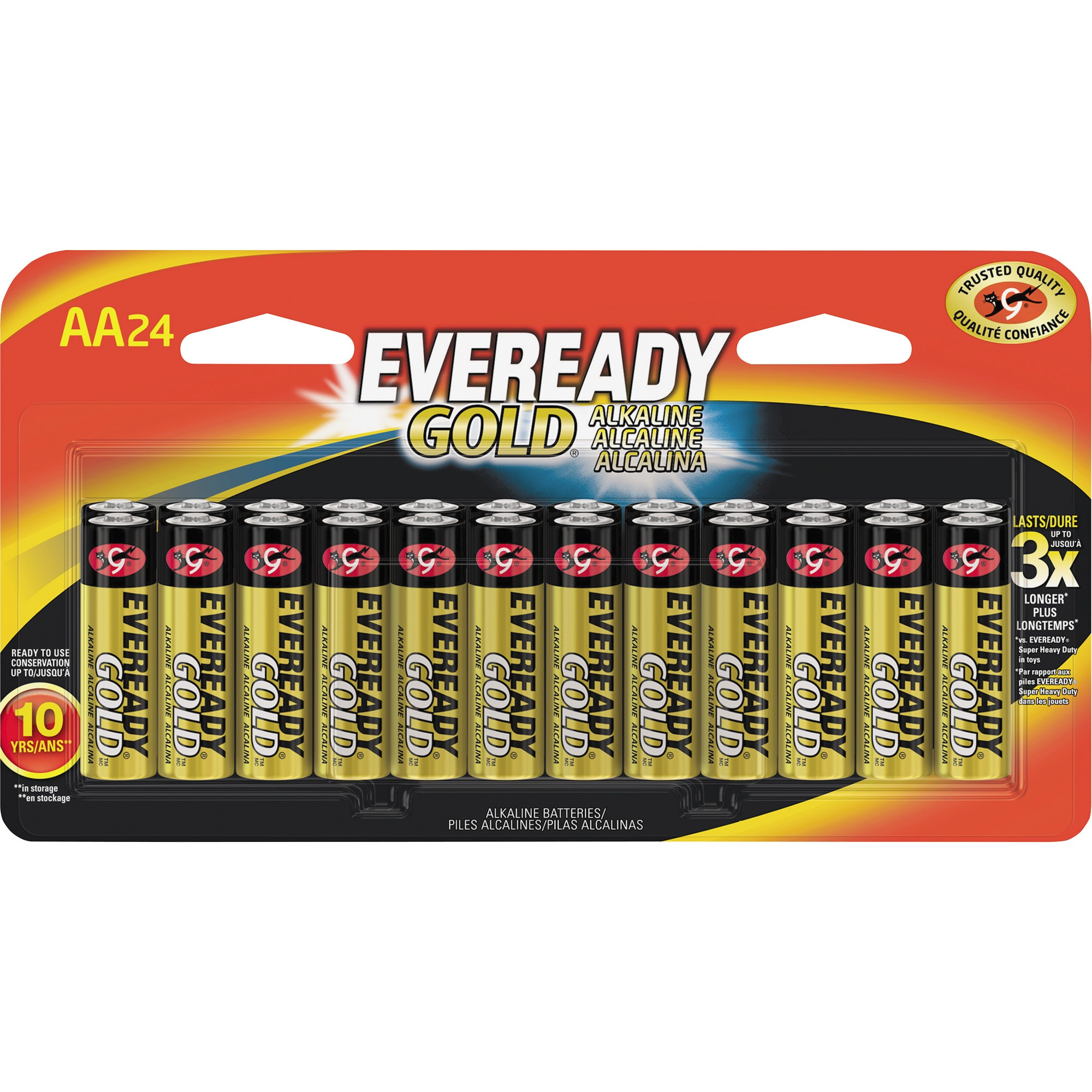 Energizer, EVEA91BP24HT, Gold Alkaline AA Batteries, 24 / Pack, Red