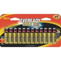 Energizer, EVEA91BP24HT, Gold Alkaline AA Batteries, 24 / Pack, Red