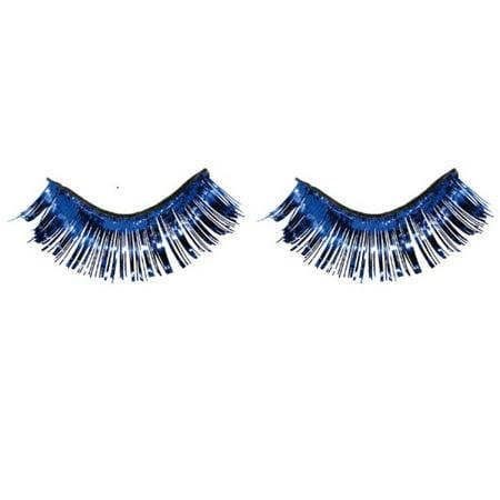 Blue Tinsel Fake Eyelashes Metallic 1 /2 x 1 inch Self Adhesive (Blue Eyelashes)