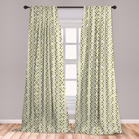 Abstract Curtains 2 Panels Set, Overlapping Circles in Green and Grey Shades Abstract Symmetric Tile, Window Drapes for Living Room Bedroom, Green Pale Grey White, by Ambesonne Green Abstract Tile