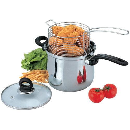Culinary Edge 3-Piece Deep Frying Pan Set with Lid