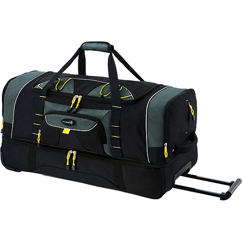 "Travelers Club Jumbo 36"" 2-Section Rolling Duffel w/ Blade Wheels, Black"