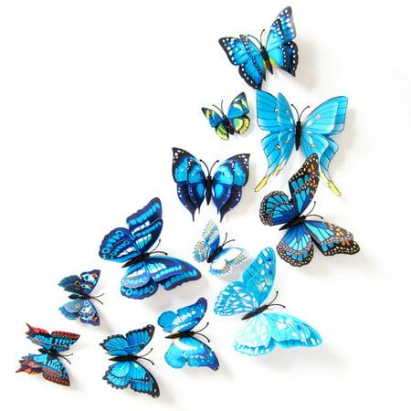 ENJOY 12Pcs PVC 3D Butterfly wall decor cute Butterflies wall ...