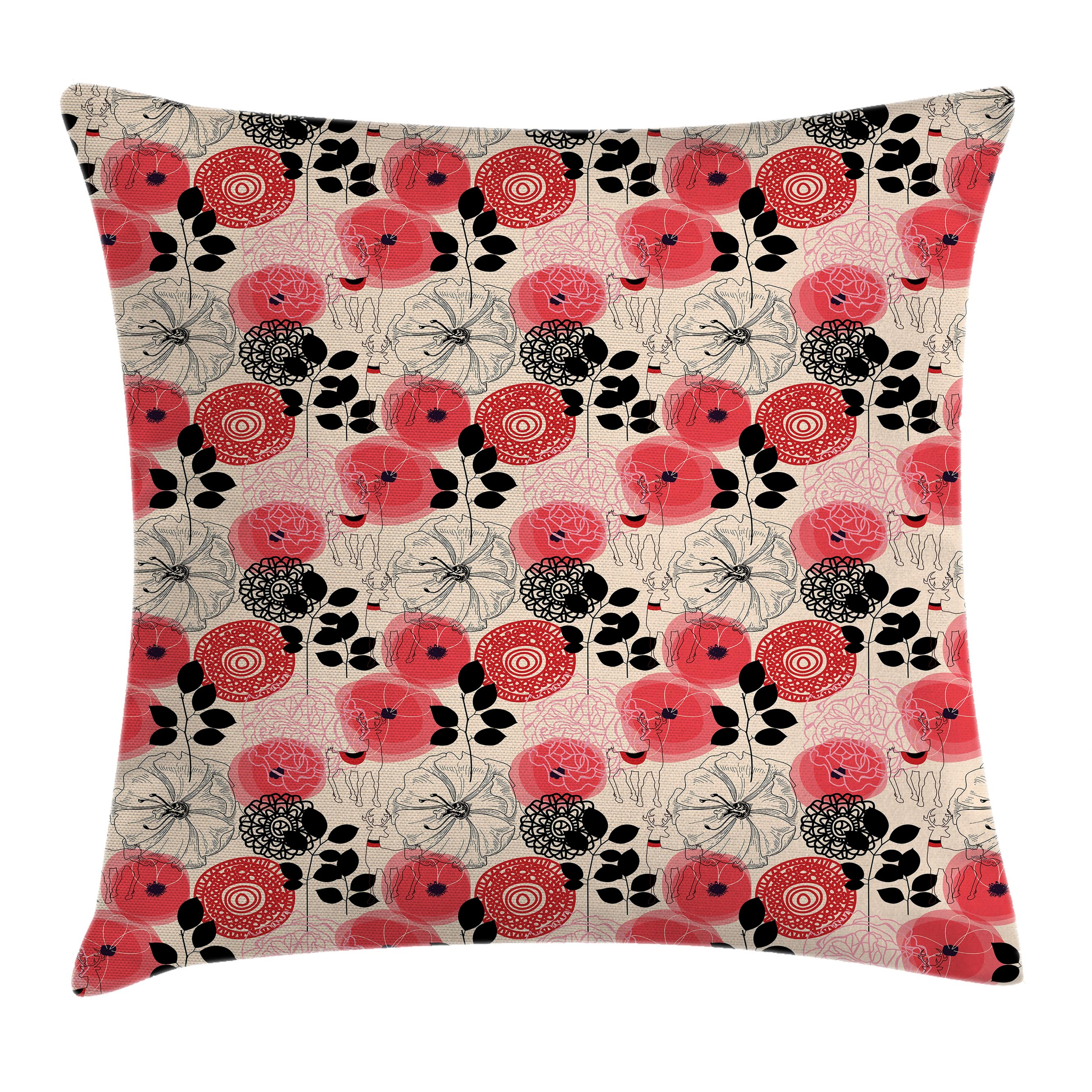 Floral Decor Throw Pillow Cushion Cover, Modern Decorative Big Circled Abstract Flowers Blossoms and Leaves Artwork, Decorative Square Accent Pillow Case, 18 X 18 Inches, Pink and Black, by Ambesonne