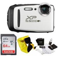 FujiFilm FinePix XP130 Camera (White) with Strap and 64GB Card Bundle