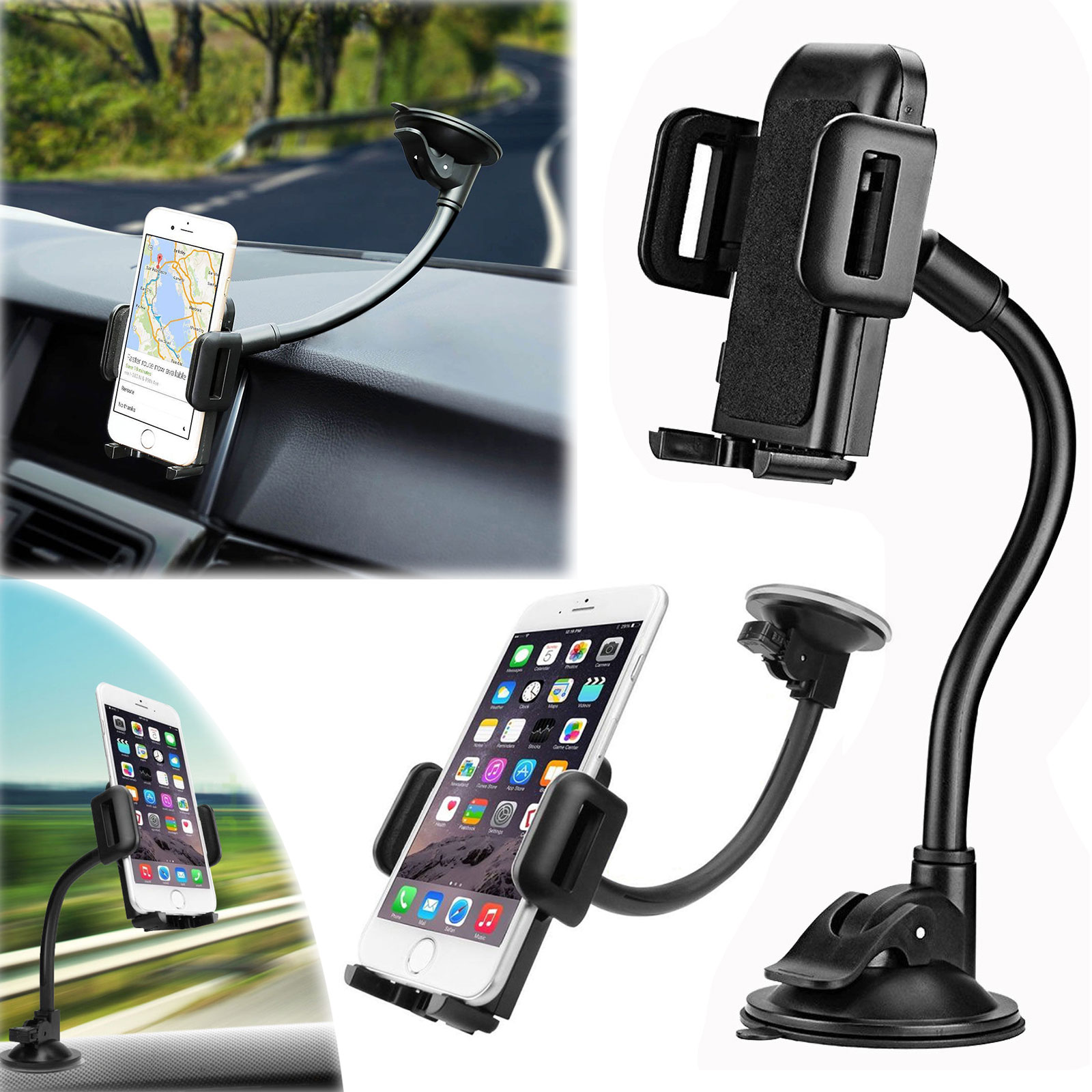 Car Mount, 360 Degree Universal Windshield Dashboard Long Arm Car Phone Holder for iPhone X/8/7/6S/6 Plus, Samsung Galaxy S9/S8 Plus, Nexus 5X/6P, LG, HTC and All 4-6 inch Smartphones