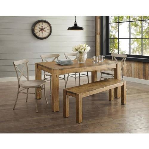 Better Homes and Gardens Bryant 6-Piece Dining Set, Vintage White Metal Chair