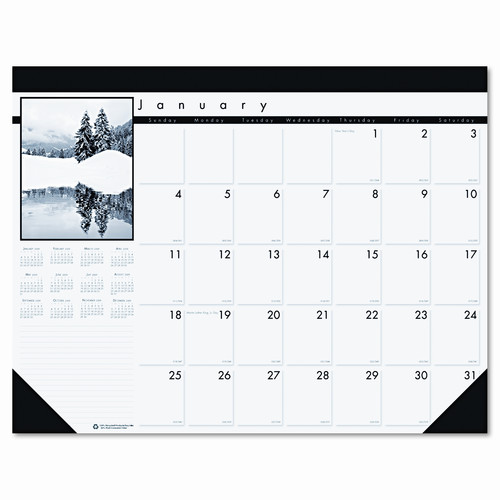 HOUSE OF DOOLITTLE                                 Black-and-White Photo Monthly Desk Pad Calendar