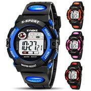 TSV Kids Digital Watches, Multi Function Waterproof Sports Digital Wrist Watch with Alarm Stopwatch, Classic Quartz Watch with Resin Strap For Boy Girls Children - Orange/Pink/Red/Blue