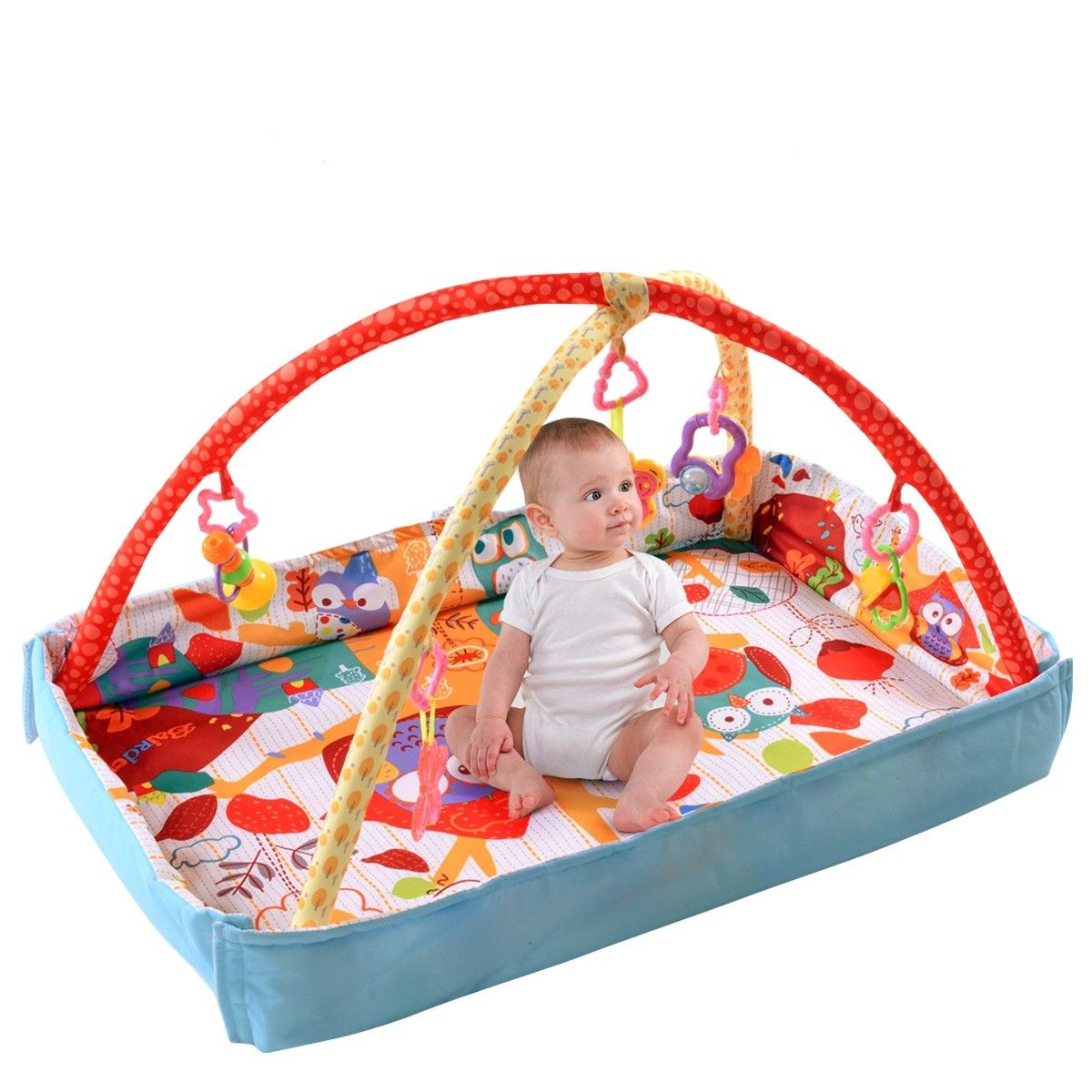 Costway 3 In 1 Multifunctional Baby Infant Activity Gym Play Mat Musical W/Hanging Toys