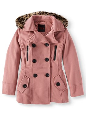 640a1be4 Product Image Double Breasted Wool Blend Hooded Coat with Ruffle Back (Big  Girls)