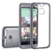 HTC One M8 Case, GreatShield RETAIN Slim Bumper Snap On Back Cover for HTC One (M8) 2014 (Transparent / Gray)