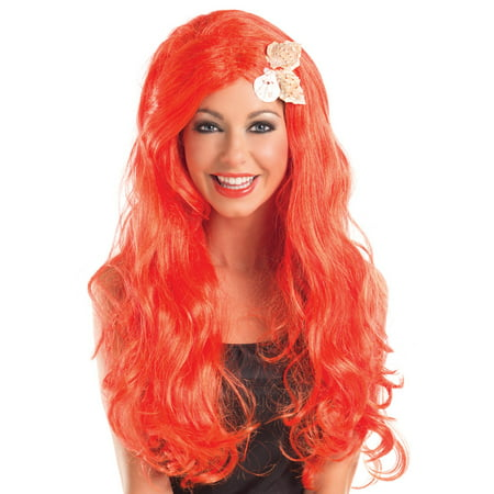 Red Mermaid Wig (Long Mermaid Wig w/Shells)