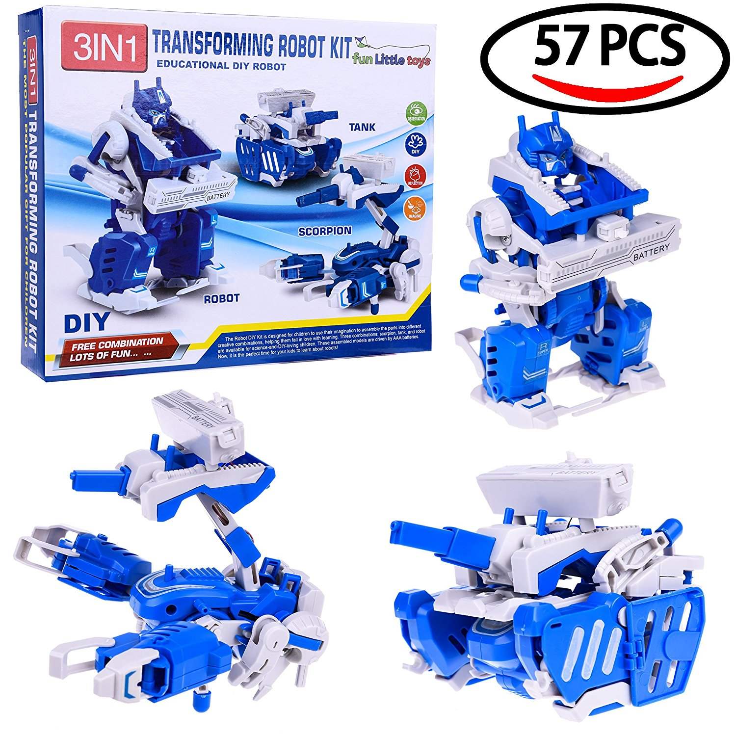 Take Apart DIY Robot Kit Engineering Building Stem Electric Assembly  Mechanics Robot, Tank, Scorpion Play Set - 57 pcs F-173