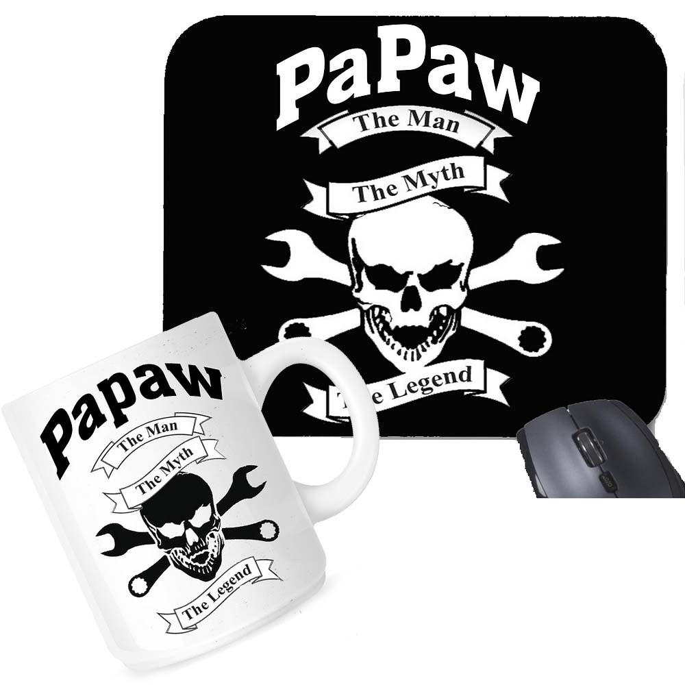 PaPaw The Man The Myth The Legend Mouse Pad Coffee Mug Office Set Gift Package
