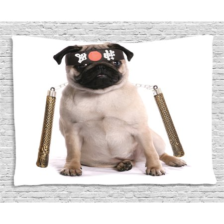 Pug Tapestry, Ninja Puppy with Nunchuk Karate Dog Eastern Warrior Inspired Costume Pug Image, Wall Hanging for Bedroom Living Room Dorm Decor, 60W X 40L Inches, Cream Black Gold, by Ambesonne