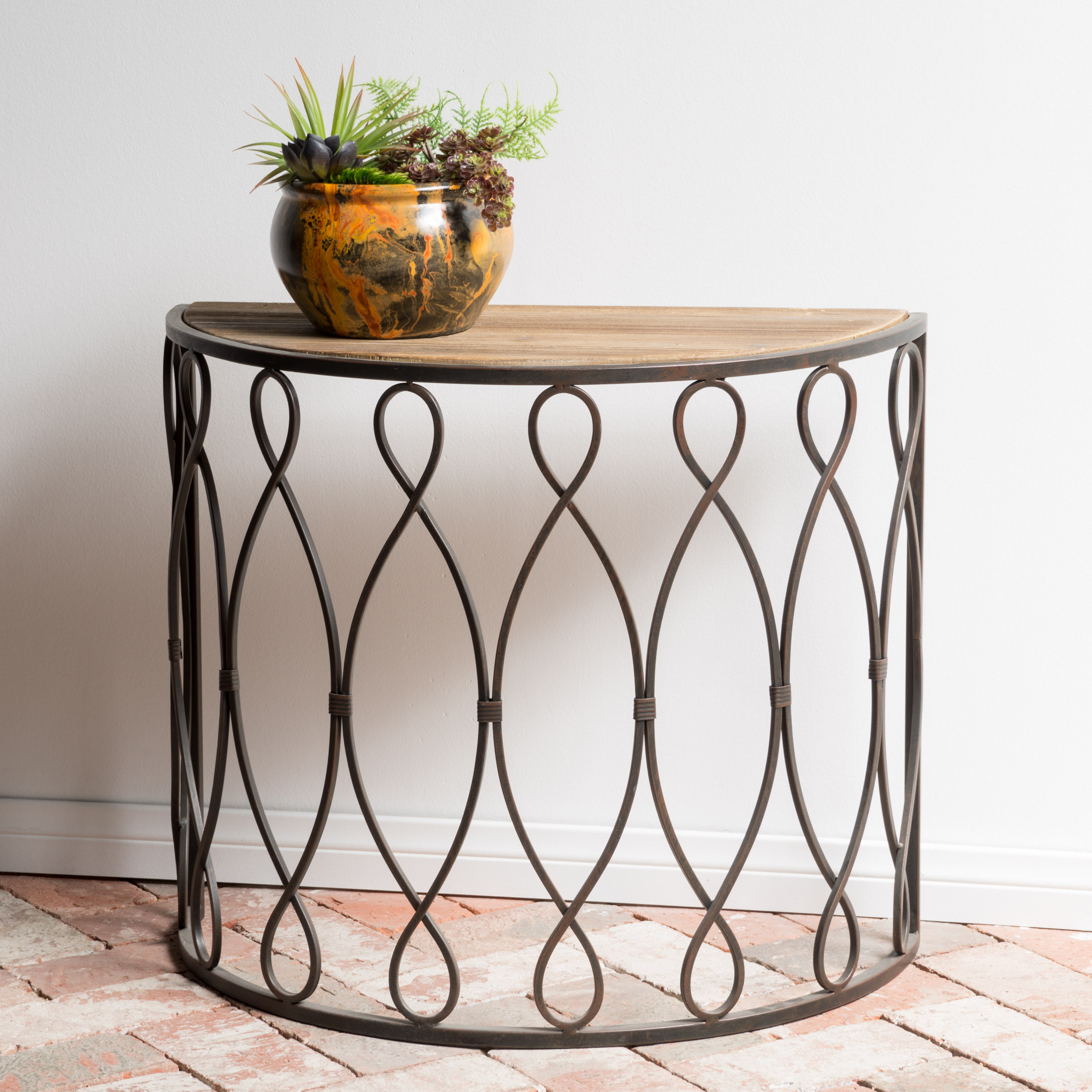 Melissa White Rusty Firwood Accent Table, Small by GDF Studio