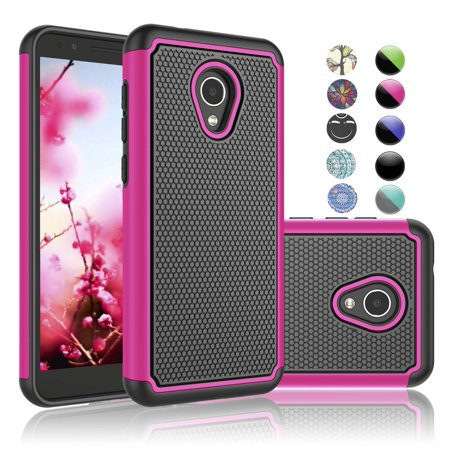 "Njjex Cases For 5.34"" 2018 Alcatel 1X Evolve / IdealXtra 5059R / TCL LX (A502DL), Njjex [Shock Absorption] Drop Protection Hybrid Dual Layer Armor Defender Protective Case Cover - Hot Pink"