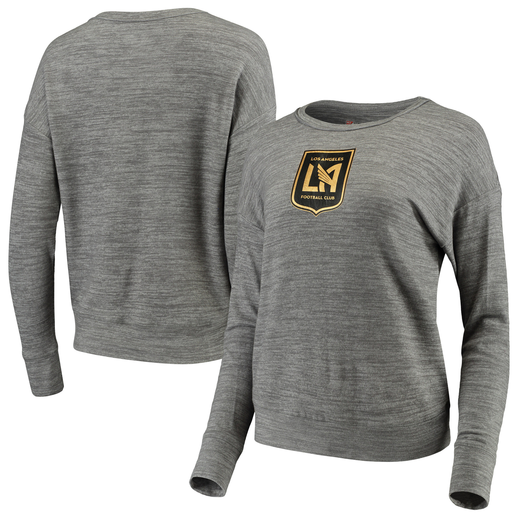 LAFC 5th & Ocean by New Era Women's Space Dye Tri-Blend Sweater - Heathered Gray
