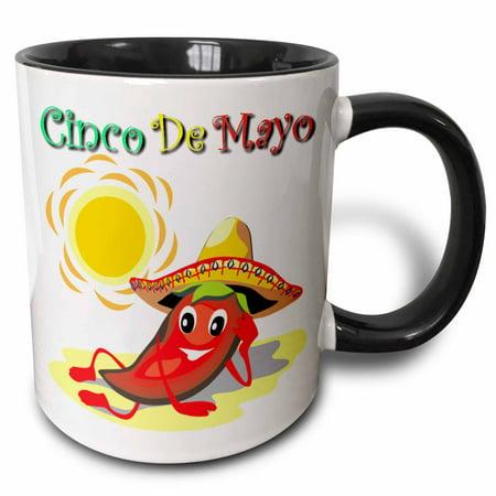 3dRose Cinco De Mayo Pepper - Two Tone Black Mug, 11-ounce (Cinco De Mayo Dog)