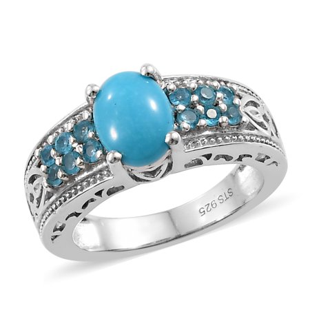 Apatite Coin - Promise Ring 925 Sterling Silver Platinum Plated Sleeping Beauty Turquoise Neon Apatite Gift Jewelry for Women